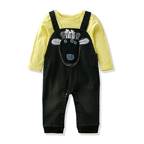 63152afe0 LvYinLi Baby Boys Clothes Suit Baby Boys' Cotton T-Shirt With Jumpsuit  Denim Overalls Romper Set (11-18 Months, Black)
