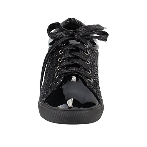 Black Metallic FP37 Street Lace Fashion up Forever Glitter Sneakers Women's zFcqfOwB