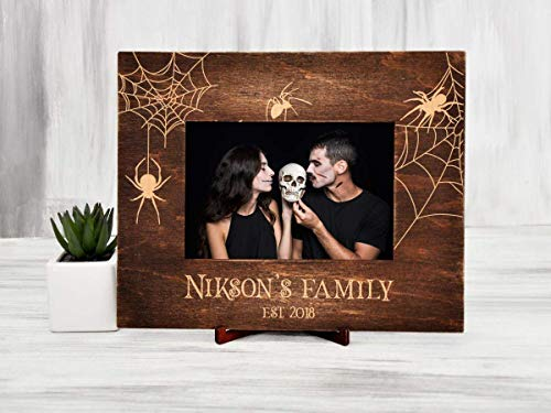 Original Wedding Frame Gothic Wedding Gift for Couple Spider Gift Personalized Picture Frame Vertical or Horizontal Halloween Photo Frame Horizontal Vertical Frame 4x6
