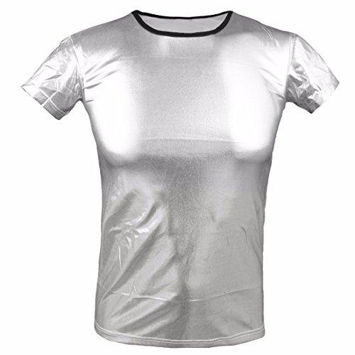 iEFiEL Mens Halloween Glossy Costume Metallic Disco Clubwear T-shirt