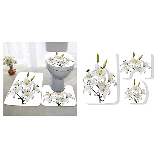 Asiatic Tiger Lily (Haoyangqub three-piece toilet seat pad custom asiatic lily plant with five flowers and two buds stem and leaves isolated on white)
