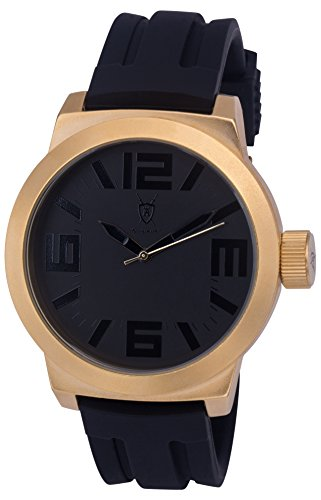 Konigswerk Mens Watch Black Hands, Silicone Band and Dial, Gold Case Quartz AQ202893G