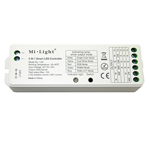 Mi light WiFi Bridge Controller Wireless Dimmer for Series RGB RGBWW/CW RGB + CCT Led Strip Light Compatible with Mi light B8 Remote or IOS Iphone Ipad & Android System by Mi-Light Wifi Box