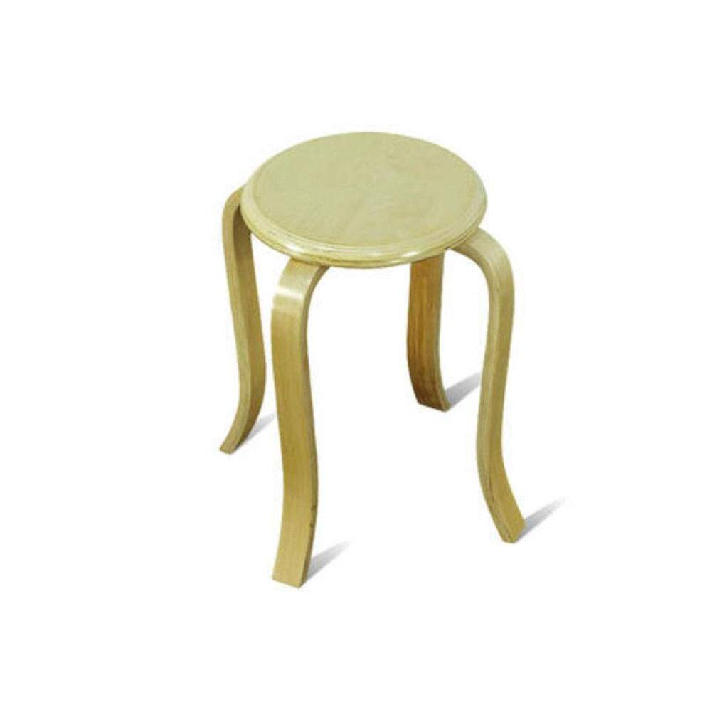 FH Solid Wood Stool Curved Wood Dining Stool Simple Stool FH