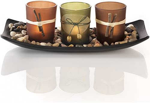 picture of Dawhud Direct Natural Candlescape Set, 3 Decorative Candle Holders, Rocks