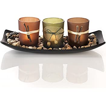 Natural Candlescape Set 3 Decorative Candle Holders Rocks and Tray  sc 1 st  Amazon.com & Amazon.com: Natural Candlescape Set 3 Decorative Candle Holders ...