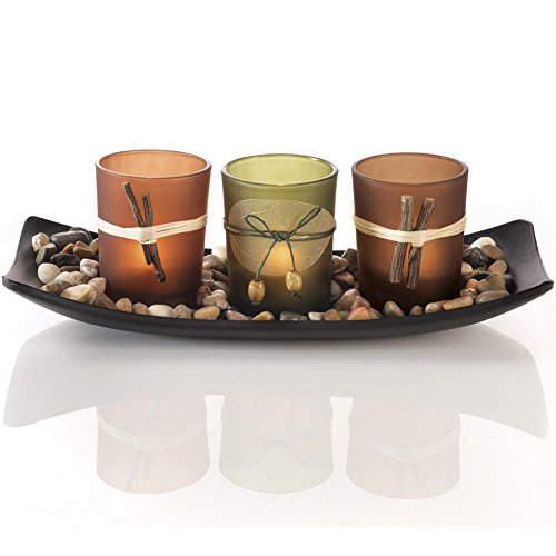Dawhud Direct Natural Candlescape Set, 3 Decorative Candle Holders, Rocks and Tray (Rectangular Candle Holder)