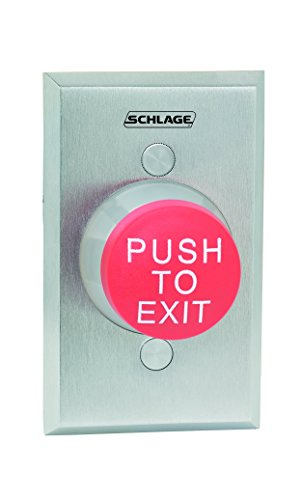 Schlage Electronics 623RD EX Heavy Duty Pushbutton, 1-5/8'' Mushroom Button, Plate in Satin Chrome Finish, Red ''PUSH TO EXIT'' Button by Schlage Lock Company