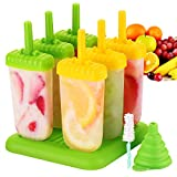 IKICH Popsicle Molds Set Upgraded - BPA Free & FDA Certified Food Safe - 6 Pack Reusable Ice Pop Molds Makers Drip-Guard Handle Easy-Release Ice Cube Tray Molds with Folding Funnel and Cleaning Brush