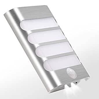 Motion Sensor Lights, LBell Stick Anywhere Battery Powered LED Wall Sconce for Walkway Hallway ...