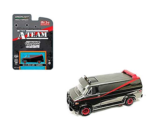 New DIECAST Toys CAR Greenlight 1:64 Hollywood - The A-Team (Chrome Edition) - B.A.'S 1983 GMC VANDURA (Matte Grey/Black Chrome) 51225