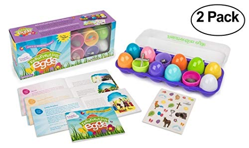 Resurrection Eggs - 12-Piece Easter Egg Set with Booklet and Religious Figurines Inside - Tells the Full Story of Easter (2-Pack)