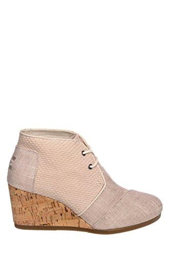 Toms Women's Desert Wedge Whisper Burlap Textured Boot 8 Women US