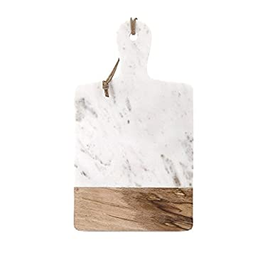 IMAX 82511 Addy Marble and Wood Cheese Board, White