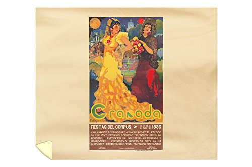 Granada Vintage Poster (artist: Reyes) Spain c. 1936 (88x104 King Microfiber Duvet Cover) by Lantern Press