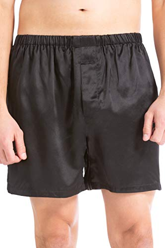 (Fishers Finery Men's 100% Pure Mulberry Silk Boxers; Valentines Gift (Black, XL))