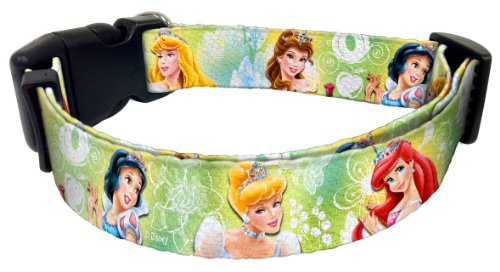 "Platinum Pets Disney 1"" Nylon Collar (16"" Thru 26"") with Princesses Design"