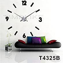 W&P Extremely long hand 3D fashion design large wall clocks home decor it yourself clock , black+silver
