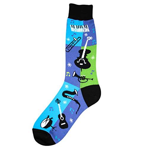 Foot Traffic - Men's Music-Themed Socks, Jazz (Shoe Sizes 712)