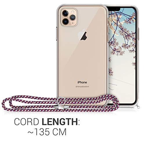 kwmobile Crossbody Case Compatible with Apple iPhone 11 Pro Max - Clear Transparent TPU Cell Phone Cover with Neck Cord Lanyard Strap - Transparent/Violet/Yellow