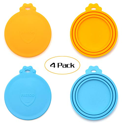(FRETOD Pet Can Lids - 4 Pack - BPA Free Silicone Cat Dog Food Can Cover- One Size fits All Standard Size Can Top)