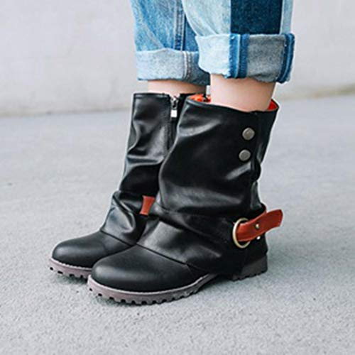 Stiefel Kurze Kunstleder Low Mode Leder Patchwork Schuhe Reißverschluss Knöchel Schnalle Damen Damen Stiefel Heel Schwarz Warme VJGOAL RxS6W58qnt