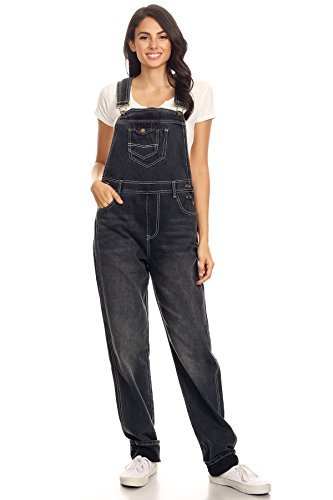 Anna-Kaci Womens Vintage Wash Straight Leg Denim Overalls with Pocket Bib, Distressed Black, X-Large/XX-Large]()