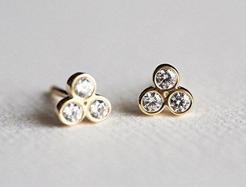 5a02f472b Amazon.com: Diamond Earrings, Gold Diamond Studs, Everyday gold studs, Small  Diamond Earrings, 14k Solid Gold: Handmade