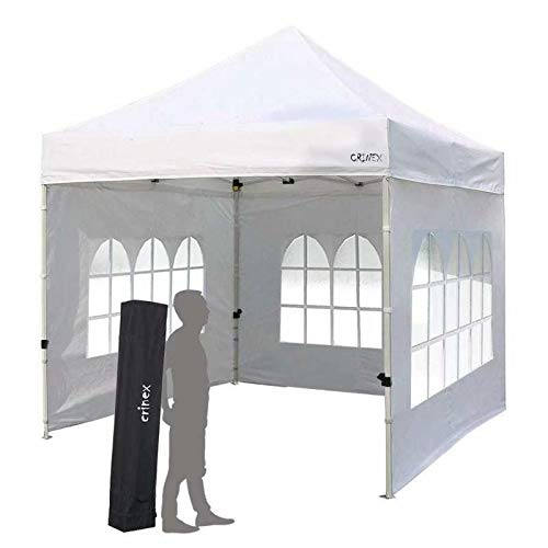 CRINEX 10x10 Canopy Tent, Pop Up Portable Shade Instant Folding Outdoor Gazebo Canopy Tent with 3 Removable Side Walls and Carry Bag (Washington Patio State Covers)