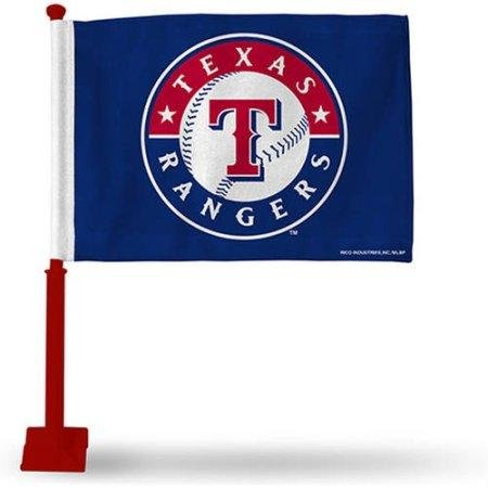- Rico Industries MLB Texas Rangers Car Flag with Colored Pole - Red Pole