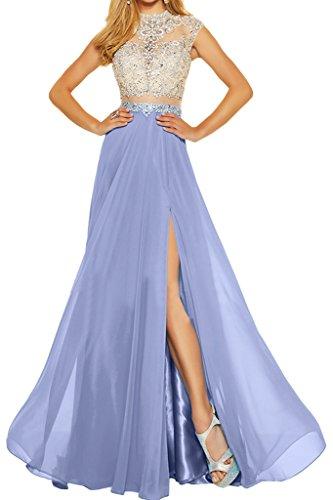 Ivydressing Line High Slit Prom Evening Dresses Rhinestones Long Formal Gowns 2018-6-Lavender
