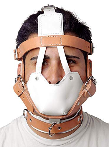 Strict Leather White and Tan Hospital Style Leather Muzzle by Strict Leather
