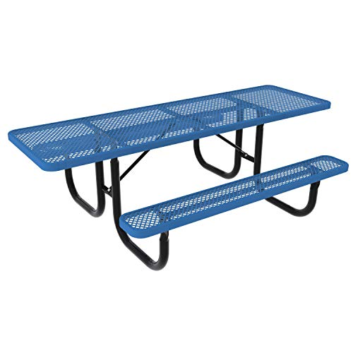 ADA Double-Sided Heavy-Duty Rectangle Picnic Table w/ Diamond Expanded Metal, Black Frame/Royal Blue Plank
