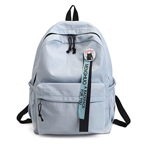 Bag Outdoor Style Waterproof Solid Leather Knapsack Light Bags Rucksack Backpack GUBENM Composite Preppy School Tarps for Girls Color Backpack Blue Shopping Large Travel Shoulder Capacity vnqp6Ef