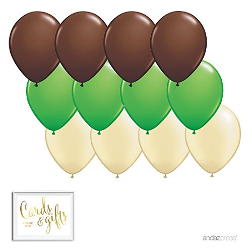Andaz Press 11-inch Latex Balloon Trio Party Kit with Gold Cards & Gifts Sign, Brown, Kiwi Green and Ivory, 12-pk, Woodland, Nature, Camouflage Birthday Decorations]()
