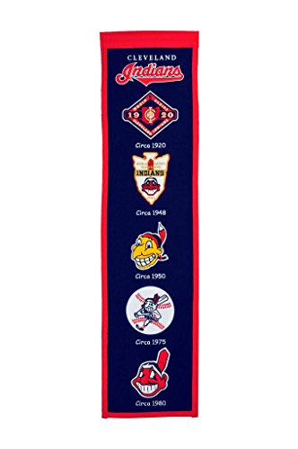 Winning Streak Cleveland Indians (Featuring Chief Wahoo) MLB 8x32 Wool Heritage Banner ()