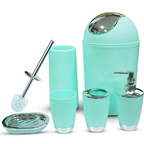 Mint Bathroom Accessories Set, TEKITSFUN 6 Piece Plastic Bathroom Accessory Set, Soap Dispenser, lotion dispenser, Soap Bar Holder, Tooth Brush Holder, Trash Can, Toilet Brush Set, Rinse Cup