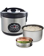 Solis Rice Cooker Duo Programm 817 Rijstkoker - Rijstkoker en Stoomkoker in 1 - Warmhoud- en Timerfunctie - LED-Display - Afneembaar Netsnoer - Inclusief Lepel en Maatbeker