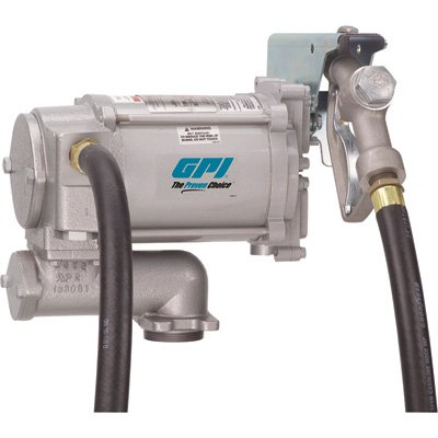 (GPI 133200-1, M-3120-ML High Flow Cast Iron Fuel Transfer Pump, 20 GPM, 115-VAC, 0.75-Inch X 12-Foot Hose, Manual Nozzle, Weight Centering Base)