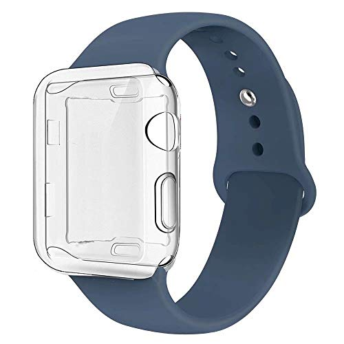 GBPOOT Compatible for Apple Watch Band 38mm 40mm 42mm 44mm, Soft Silicone Replacement Sport Wristband with Apple Watch Screen Protector Case Compatible for Apple Watch Iwatch Series 1/2/3/4