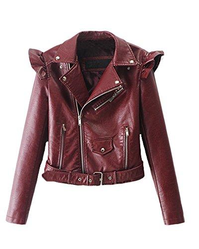 Lunghe Zip Corto Giacca In Risvolto Bodeaux Donna Da Maniche Giacche Moto Giacchetto Slim Pelle Ragazza Casuali YaP6qRwf