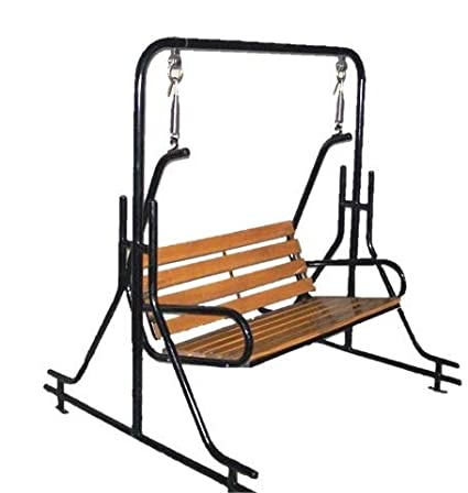 Hindoro Teak Wooden Swing Zula for Indoor Garden (Black)