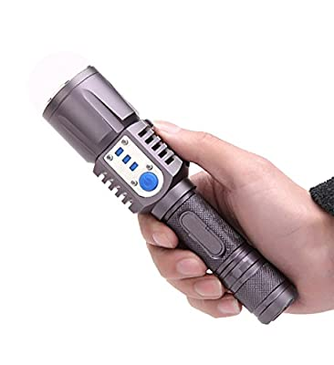Aidisun 6000 k XM-L2 Tactical LED Flashlight Rechargeable Torch Light Waterproof with USB Port for Phone Charging as a Power Bank Include Battery and Charger for Climbing Camping Hiking Cycling