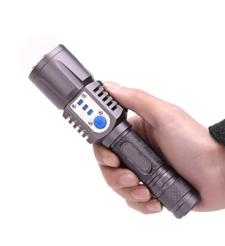 Price comparison product image Aidisun 6000 Lumens XM-L2 Tactical LED Flashlight Rechargeable Torch Light Waterproof with USB Port for Phone Charging as a Power Bank Include Battery and Charger for climbing camping hiking cycling