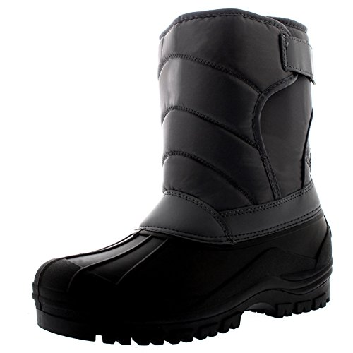 Thermal Quilted - Polar Mens Quilted Thermal Nylon Mucker Single Strap Hiking Stable Snow Boots - Gray - US12/EU45 - YC0339