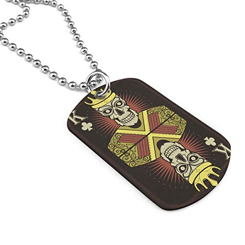 King Skull Dog Tag Pendant Necklace Military Chain Air Force Pendant Zinc Alloy Necklace Festival Military Necklaces for Love Gift