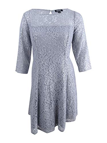 S.L. Fashions Women's Plus Size Lace and Sequin Fit and Flare Dress, Silver, 14W