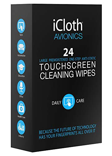Macbook Kit Cleaning (iCloth Large Screen Cleaning Wipes - Cleans and Protects a Computer Monitor, a Gaming PC a Touchscreen Desktop, a TV LED or LCD, Aviation and Automotive displays | iCA24 | 24 Wipe Box)