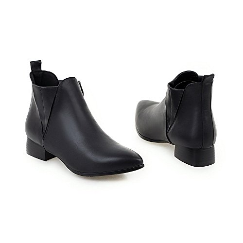 AmoonyFashion Pull Boots Toe Closed Top Low Black Low on Women's Solid Pointed Heels qUHqw