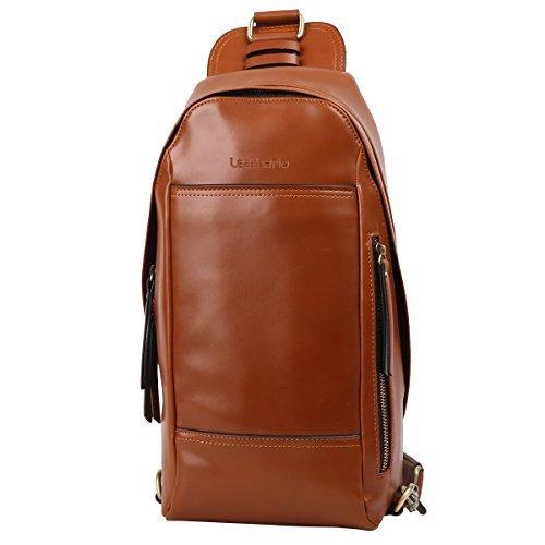 9bf215d408 Leathario Men s Leather Sling bag Chest bag One shoulder bag Crossbody Bag  Backpack for men